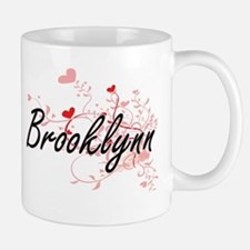 Brooklynn Artistic Name Design with Hearts Mugs