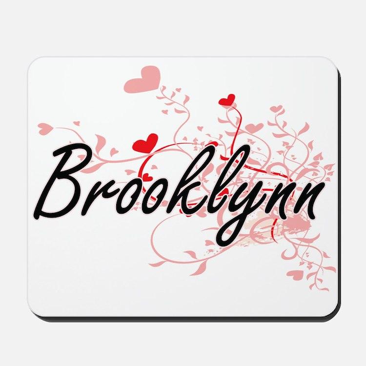 Brooklynn Artistic Name Design with Hear Mousepad