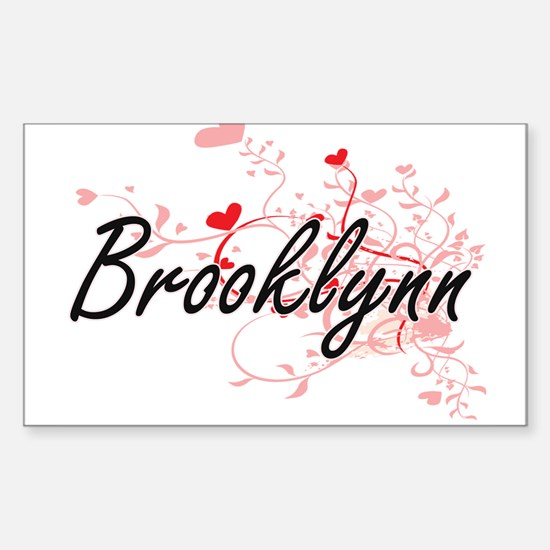Brooklynn Artistic Name Design with Hearts Decal