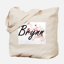 Brynn Artistic Name Design with Hearts Tote Bag