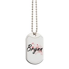 Brynn Artistic Name Design with Hearts Dog Tags