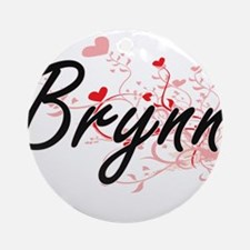 Brynn Artistic Name Design with H Ornament (Round)