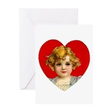Victorain Valentine Girl Greeting Card