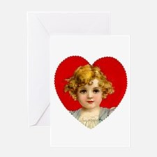 Victorain Valentine Girl Greeting Card