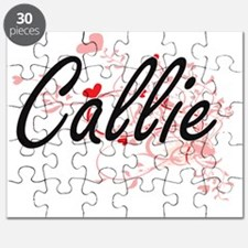 Callie Artistic Name Design with Hearts Puzzle