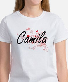 Camila Artistic Name Design with Hearts T-Shirt