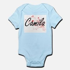 Camila Artistic Name Design with Hearts Body Suit