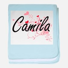 Camila Artistic Name Design with Hear baby blanket