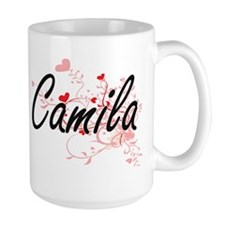 Camila Artistic Name Design with Hearts Mugs
