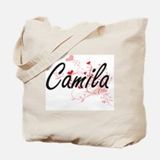 Camila Artistic Name Design with Hearts Tote Bag