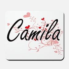 Camila Artistic Name Design with Hearts Mousepad