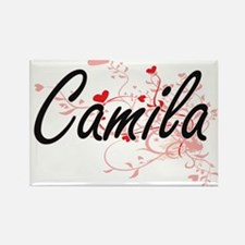 Camila Artistic Name Design with Hearts Magnets