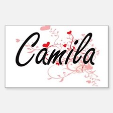Camila Artistic Name Design with Hearts Decal