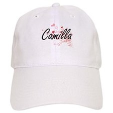 Camilla Artistic Name Design with Hearts Baseball Cap