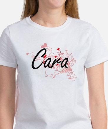 Cara Artistic Name Design with Hearts T-Shirt
