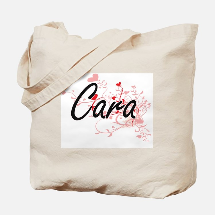 Cara Artistic Name Design with Hearts Tote Bag