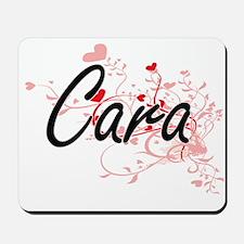 Cara Artistic Name Design with Hearts Mousepad