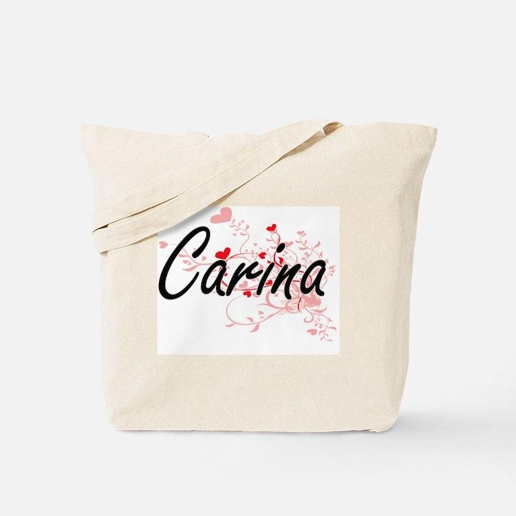Carina Artistic Name Design with Hearts Tote Bag