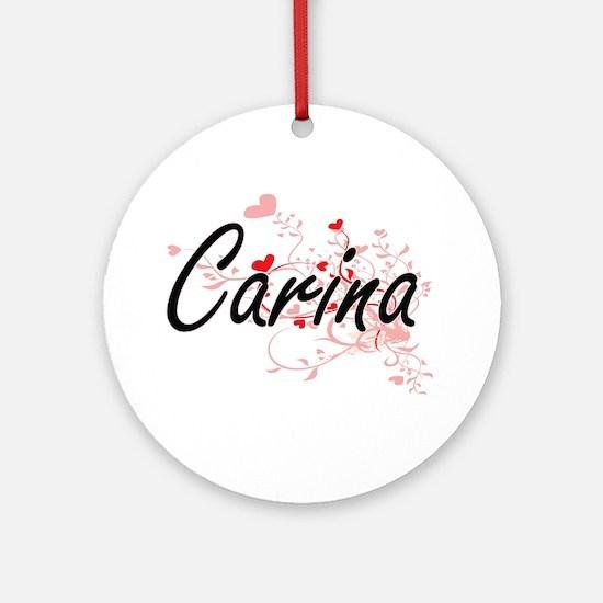 Carina Artistic Name Design with Ornament (Round)