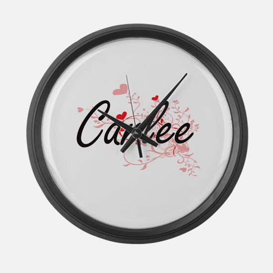 Carlee Artistic Name Design with Large Wall Clock