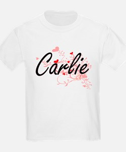 Carlie Artistic Name Design with Hearts T-Shirt