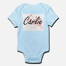 Carlie Artistic Name Design with Hearts Body Suit