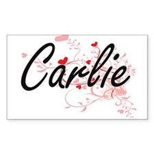 Carlie Artistic Name Design with Hearts Decal
