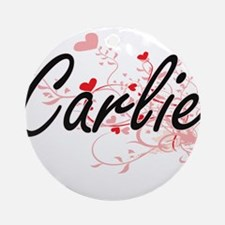 Carlie Artistic Name Design with Ornament (Round)
