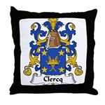 Clercq Family Crest Throw Pillow
