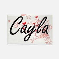 Cayla Artistic Name Design with Hearts Magnets