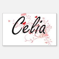 Celia Artistic Name Design with Hearts Bumper Stickers