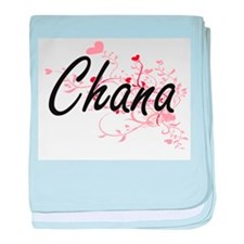 Chana Artistic Name Design with Heart baby blanket