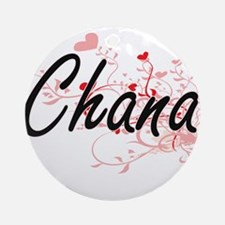 Chana Artistic Name Design with H Ornament (Round)