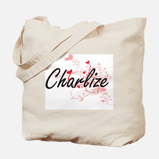 Charlize Artistic Name Design with Hearts Tote Bag