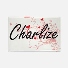 Charlize Artistic Name Design with Hearts Magnets
