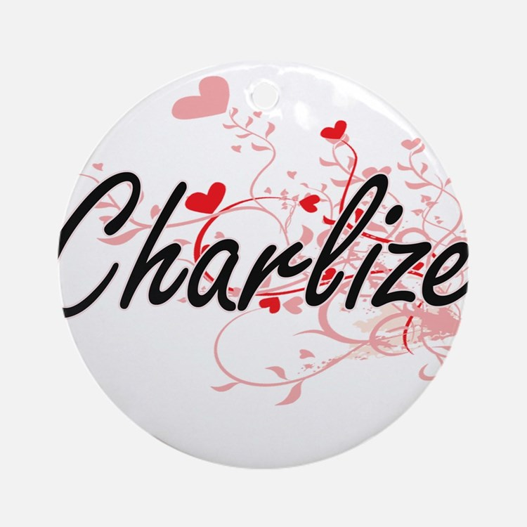 Charlize Artistic Name Design wit Ornament (Round)