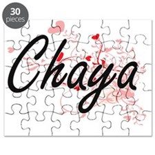 Chaya Artistic Name Design with Hearts Puzzle