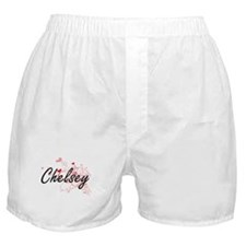 Chelsey Artistic Name Design with Hea Boxer Shorts