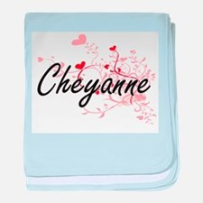 Cheyanne Artistic Name Design with He baby blanket