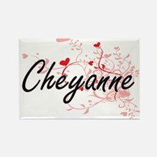 Cheyanne Artistic Name Design with Hearts Magnets
