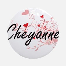 Cheyanne Artistic Name Design wit Ornament (Round)