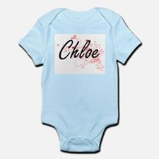 Chloe Artistic Name Design with Hearts Body Suit