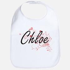 Chloe Artistic Name Design with Hearts Bib
