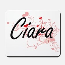 Ciara Artistic Name Design with Hearts Mousepad