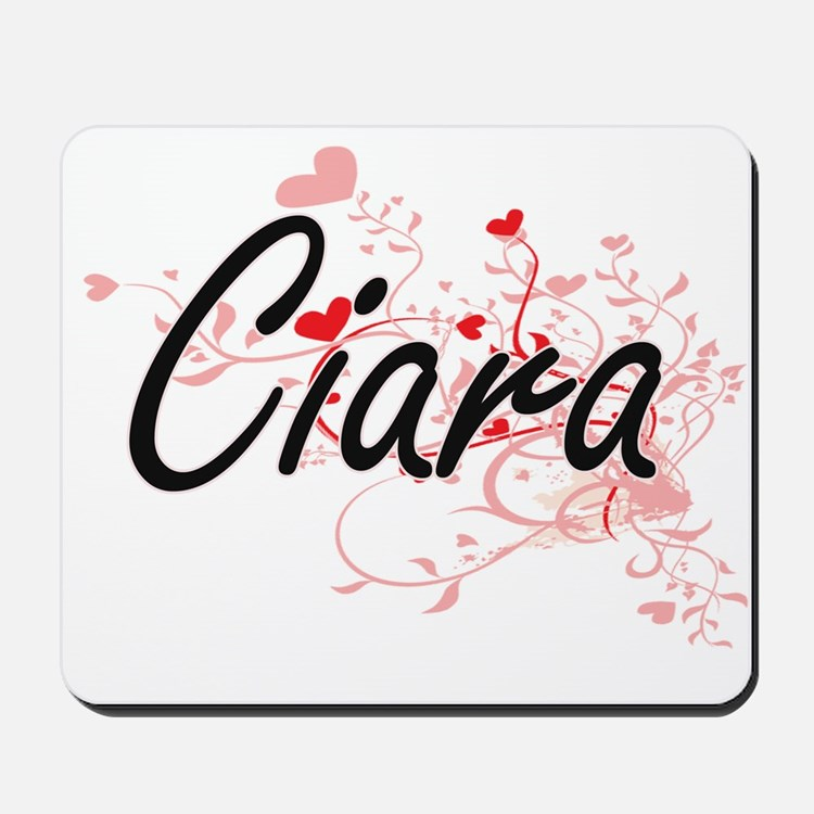Ciara Artistic Name Design with Hearts Mousepad