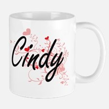 Cindy Artistic Name Design with Hearts Mug