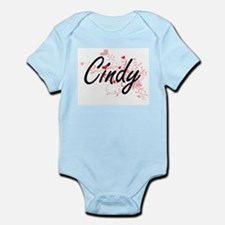Cindy Artistic Name Design with Hearts Body Suit