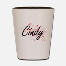 Cindy Artistic Name Design with Hearts Shot Glass
