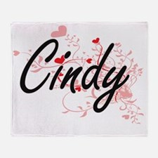 Cindy Artistic Name Design with Hear Throw Blanket