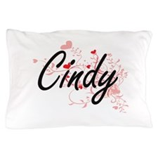 Cindy Artistic Name Design with Hearts Pillow Case